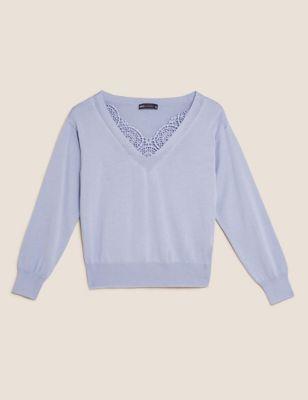 Cotton V-Neck Lace Detail Jumper