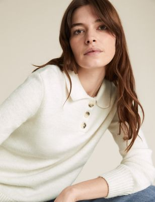 Collared Button Detail Relaxed Jumper