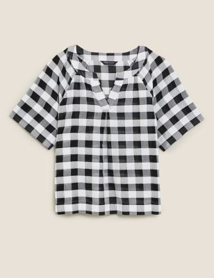 Pure Cotton Checked Short Sleeve Blouse