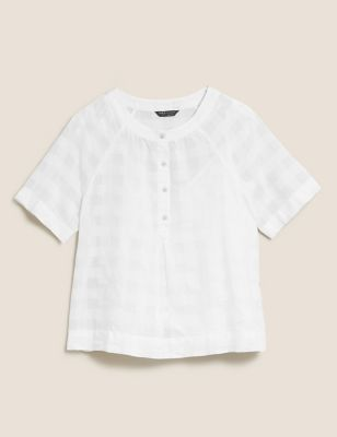 Pure Cotton Checked Short Sleeve Top