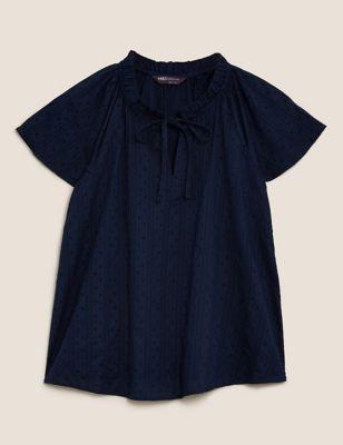 Pure Cotton Tie Neck Short Sleeve Blouse