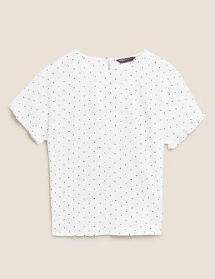 Polka Dot Frill Detail Short Sleeve Top