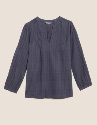 Cotton V-Neck Pintuck Long Sleeve Blouse