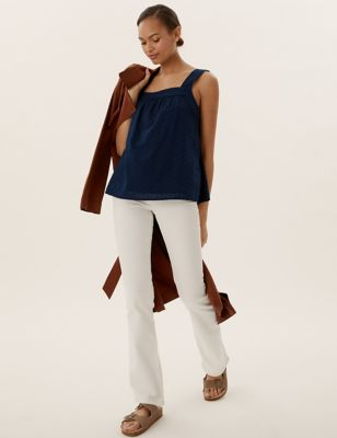 Pure Cotton Textured Square Neck Vest