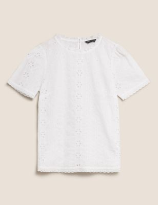 Pure Cotton Broderie Ruffle Blouse