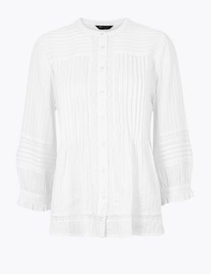 Pin Tuck Lace Insert Long Sleeve Blouse