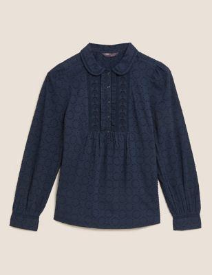 Pure Cotton Textured Lace Insert Blouse