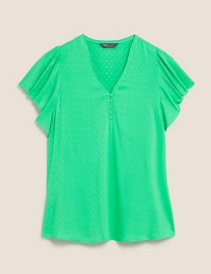 Textured V-Neck Angel Sleeve Shell Top