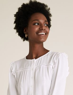 Frill Detail Lace Insert Blouse