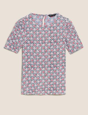 Ditsy Floral Relaxed Short Sleeve Top