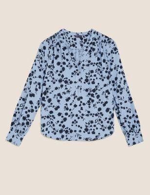 Floral V-Neck Long Sleeve Popover Blouse
