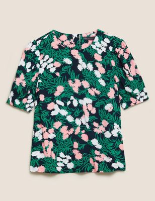 Floral Round Neck Puff Sleeve Top