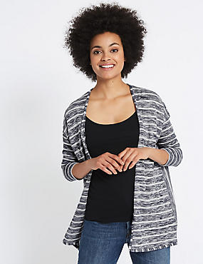 Striped Waterfall Cardigan, BLUE MIX, catlanding