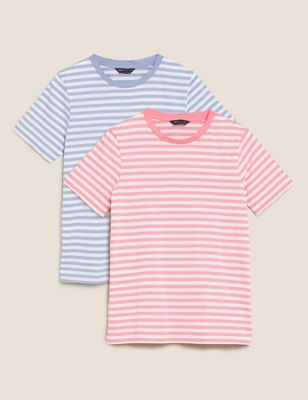 2 Pack Pure Cotton Straight Fit T-Shirts