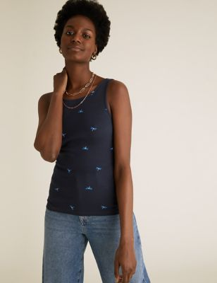 2 Pack Cotton Printed Fitted Vest Tops