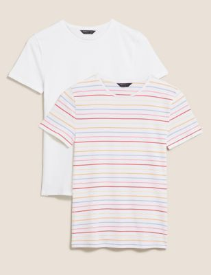 2 Pack Cotton Striped Fitted T-Shirts