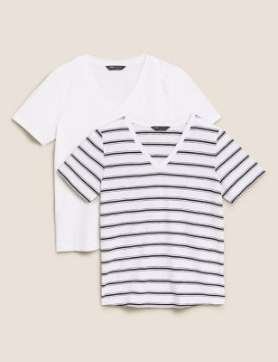 2 Pack Pure Cotton Striped V-Neck T-Shirts