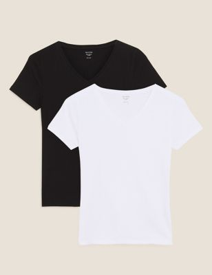 2 Pack Cotton Fitted Short Sleeve Tops