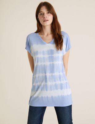Tie-Dye V-Neck Relaxed Longline T-Shirt