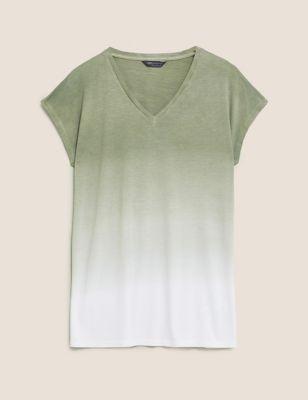Tie-Dye V-Neck Longline T-Shirt