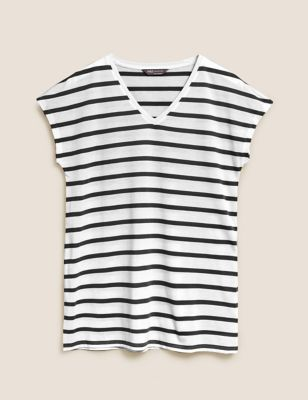 Striped V-Neck Relaxed Longline T-Shirt