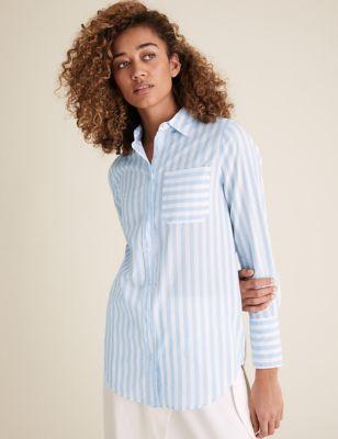 Pure Cotton Striped Longline Shirt