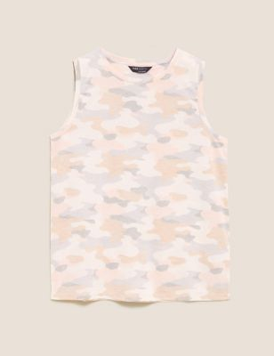 Camouflage Crew Neck Relaxed Tank Top