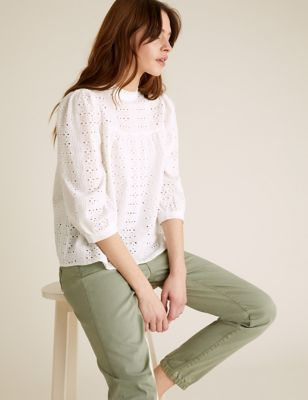 Pure Cotton Broderie Short Sleeve Blouse