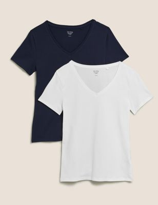 2 Pack Cotton V-Neck Fitted T-Shirts