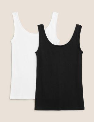 2 Pack Cotton Regular Fit Vest Tops
