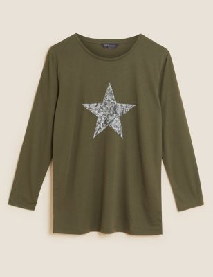 Star Print Relaxed Long Sleeve Longline Top