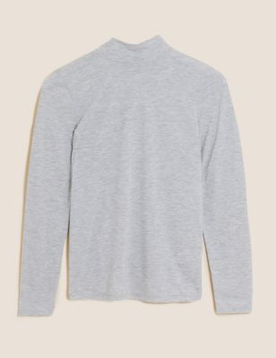 Funnel Neck Relaxed Long Sleeve Top