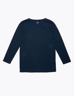 Crew Neck Relaxed Longline Long Sleeve Top