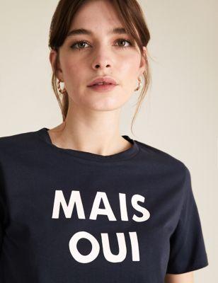 Pure Cotton Slogan Straight Fit T-Shirt