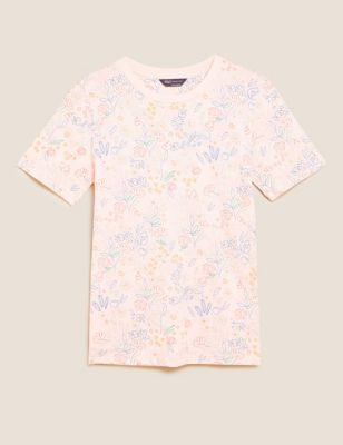 Pure Cotton Floral Straight Fit T-Shirt