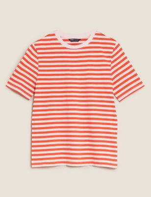 Pure Cotton Striped Straight Fit T-Shirt