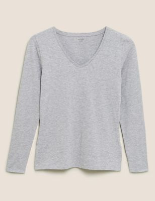 Cotton V-Neck Fitted Long Sleeve Top