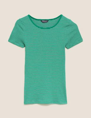 Cotton Striped Crew Neck Fitted T-Shirt