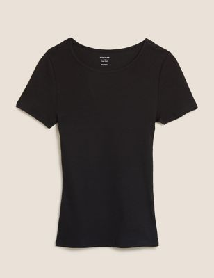 Cotton Ribbed Crew Neck Fitted T-Shirt
