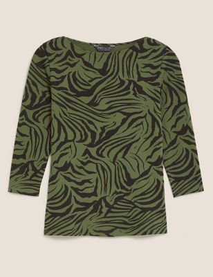 Cotton Animal Print Slash Neck Fitted Top