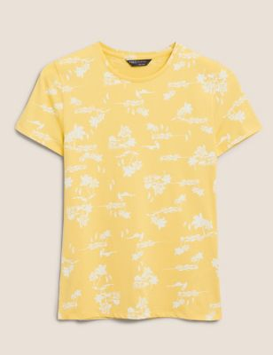 Cotton Printed Crew Neck Fitted T-Shirt