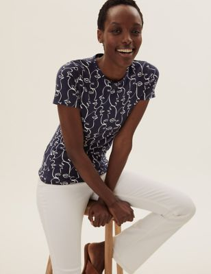 Pure Cotton Printed Fitted T-Shirt