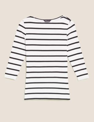 Cotton Striped Slash Neck Fitted Top