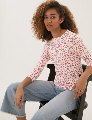 Cotton Printed Slash Neck Fitted Top