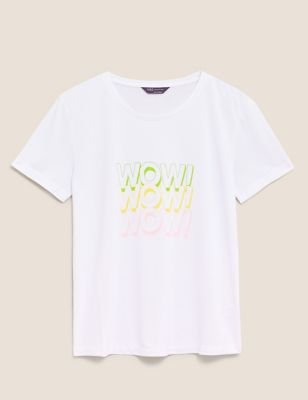 Wow Slogan Crew Neck Relaxed T-Shirt