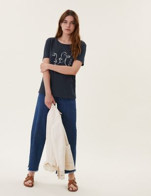 Printed Crew Neck Relaxed T-Shirt