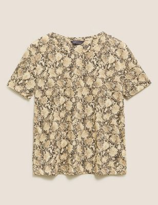 Animal Print Crew Neck Relaxed T-Shirt