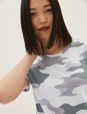 Camo Crew Neck Relaxed T-Shirt