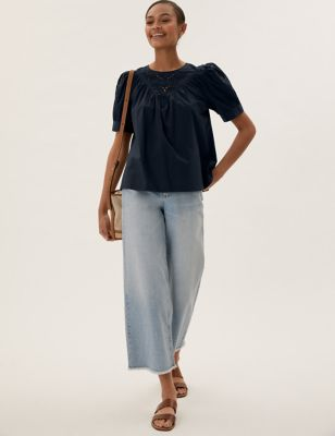 Pure Cotton Broderie Relaxed Top