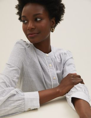 Pure Cotton Striped Relaxed Popover Blouse